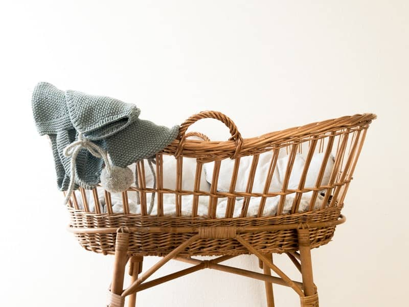 A chair sitting in a basket
